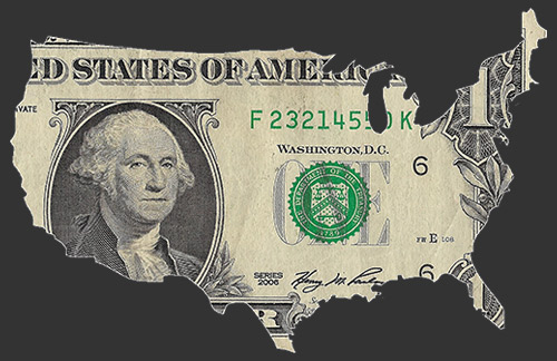 Dollar bill in the shape of the United States photograph