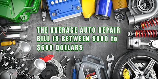 The average auto repair bill is between $500 to $600 dollars.