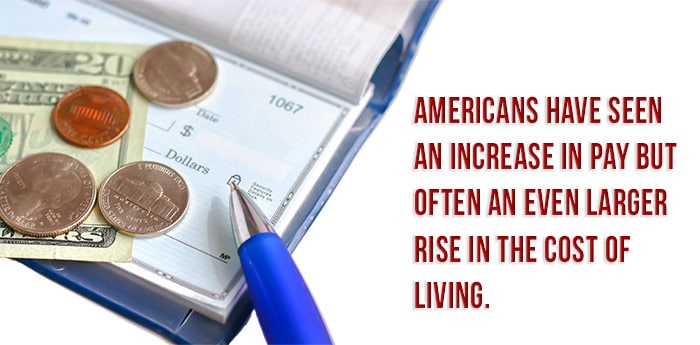 Americans have seen an increase in pay but often an even larger rise in the cost of living.