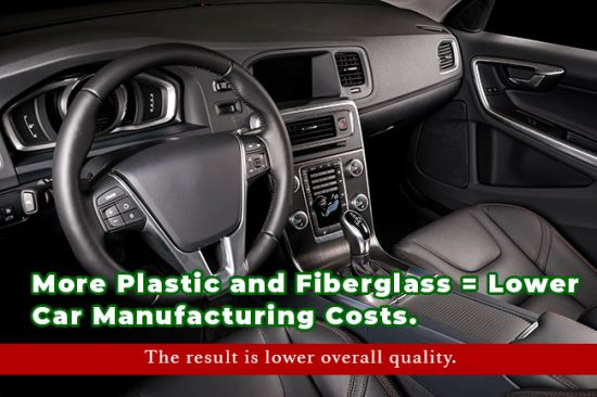 More Plastic and Fiberglass = Lower Car Manufacturing Costs - The result is lower overall quality.