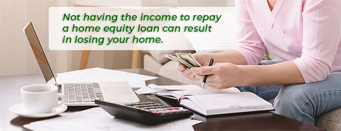 Not having the income to repay a home equity loan can result in losing your home.