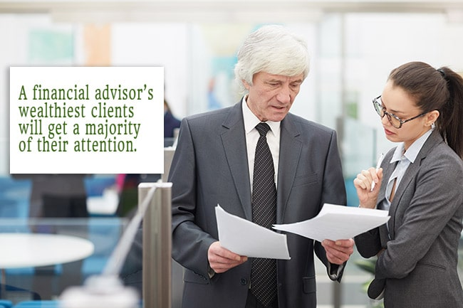 A financial advisor's wealthiest clients will get a majority of their attention.
