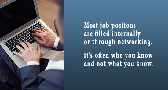 Most job positions are filled internally or through networking. It's often who you know and not what you know.